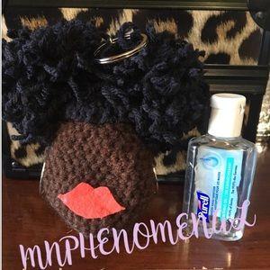Accessories - Afro Puffs Crochet hand sanitizer keychain heads,